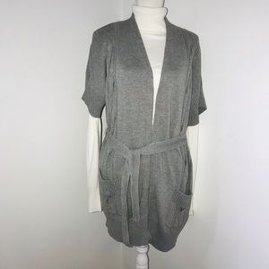 MICKAEL KORS LONG CARDIGAN, CABLE KNITTED